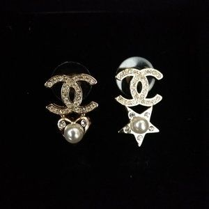 Authentic Chanel star pearl earrings